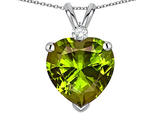(Star K Genuine 8mm Peridot Heart Pendant Necklace 14 kt White Gold)