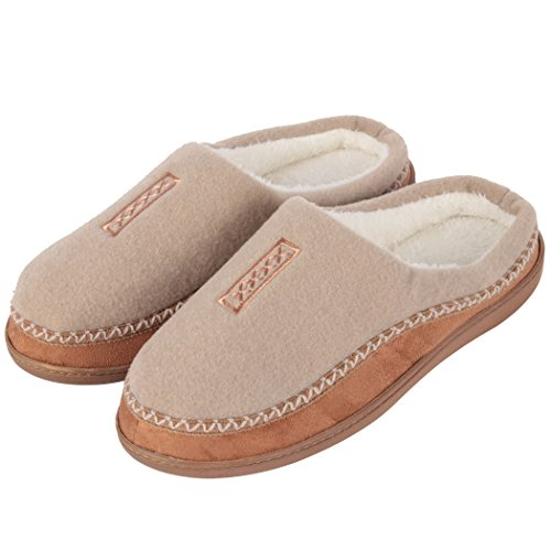 34054440cc1 Home Slipper Men s House Shoes Memory Foam Slippers Wool-Like Plush Fleece  Lined Slippers Indoor