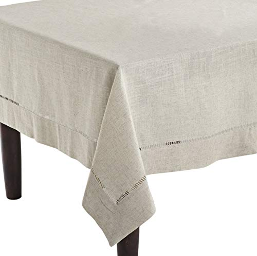 Fennco Styles Toscana Handmade Hemstitch Contemporary Linen Blend for Dinner Table, Picnic Table, Parties, Wedding Decorations, Exhibitions Natural Tablecloth 65 x120 Rectangular ()
