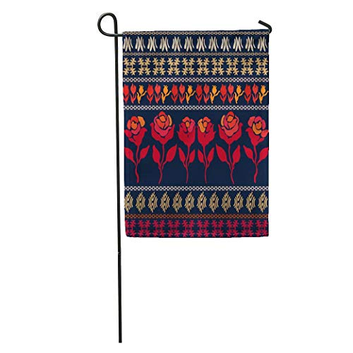 YhouqukehTshirt Garden Flag Bohemian Border Retro Flowers Inspired by Gypsy Costumes Floral Ornaments Home Yard House Decor Barnner Outdoor Stand 12x18 Inches Flag ()