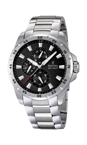 Festina Men's Quartz Watch with Black Dial Analogue Display and Silver Stainless Steel Bracelet F16662/3