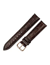 RECHERE Alligator Crocodile Grain Leather Watch Band Strap Rose Gold Pin Buckle (Brown 14mm)