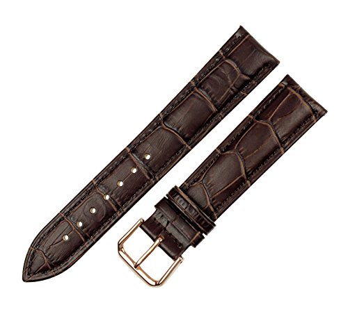 Brown Crocodile Leather Watch - RECHERE Alligator Crocodile Grain Leather Watch Band Strap Rose Gold Pin Buckle (Brown 16mm)