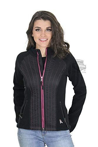 Harley-Davidson Womens Pink Label Stitched Fleece Black Casual Jacket 98579-17VW (2X)