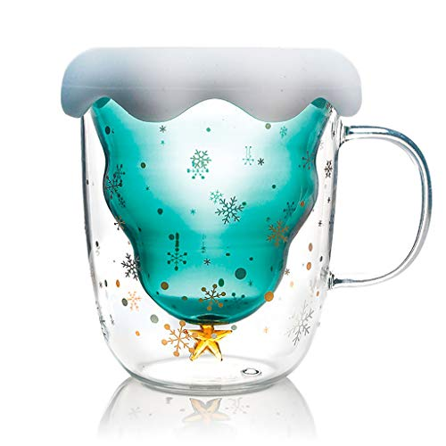 charmsamx Double Wall Insulated Thermal Cups Drinking Glasses Creative Christmas Tree Snowflake Glass Coffee Mugs Crystal Drinking Cup Shot Glasses for Tea Milk Juice Beer (Green)