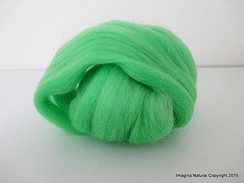 Light Green Handmade Merino Roving Wool, for Hand Spinning, Felting.Craft Art Chilean Knitting Chunky 18 Microns Merino