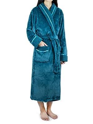 Deluxe Women Fleece Robe with Satin Trim Waffle Cuff | Luxurious Plush Bathrobe
