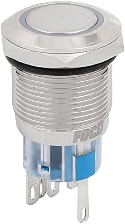 uxcell 押しボタンスイッチ 瞬時スイッチ DC24V スレッド直径19mm 5端子 ブルー LED