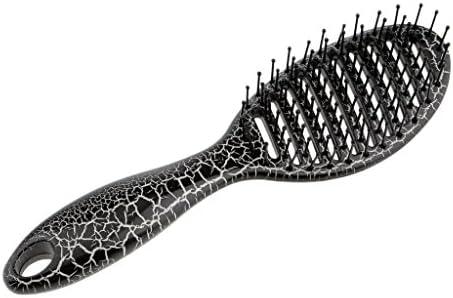 ユニセックスサロンヘアブラシマッサージディタングルパドルヘアブラシ大きな行の櫛 - ブラック