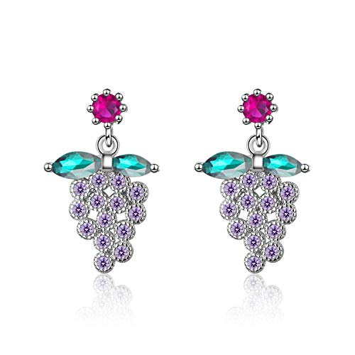 Lotus leaf fragrance Korean Luxury Sweet Green Leaf Purple Zircon Grape Fruit Earrings for Women 925 Sterling Silver Wedding -