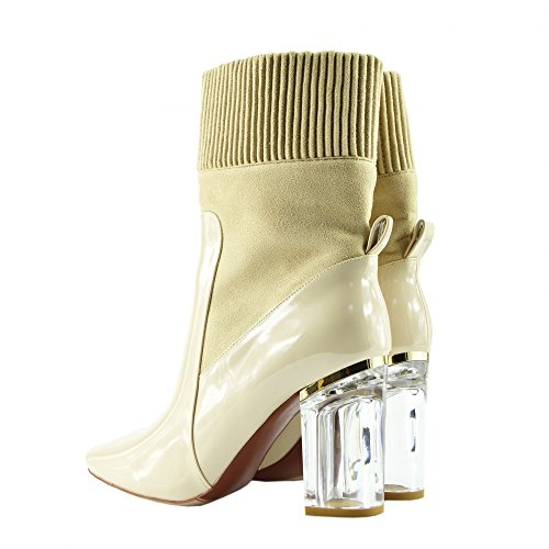 Damen Stiefeletten Klare Plexiglas Block High Heel Party Mode Schuhe Nude - NF024