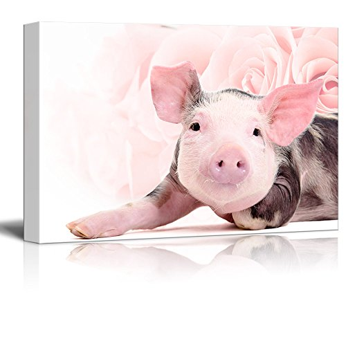 Pig Floral (wall26 Canvas Print Wall Art - Little Pink Pig on Floral Background - Gallery Wrap Modern Home Decor | Ready to Hang - 16x24 inches)