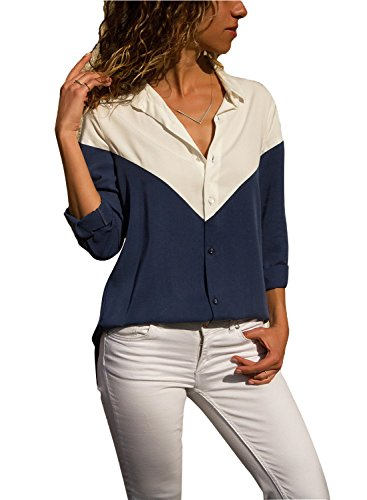 Dot Collar Shirt - Silindashop Tops for Women Long Sleeve V Neck Color Block Stitch Shirts Button Down Turndown Collar Sexy Blouses Dark Blue S