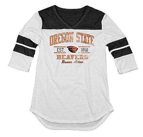 NCAA Oregon State Beavers Women's Tri-Blend 3/4 Sleeve Tee, Black, Medium