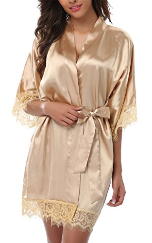 - Giova Women's Lace Trim Kimono Robe Nightwear Nightgown Sleepwear Satin Short Robe Gold Large