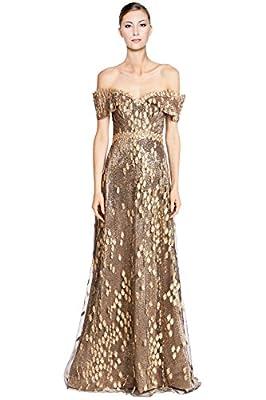 Rene Ruiz Embellished Off Shoulder Lace Overlay Evening Ball Gown Dress