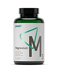 Puori -  M3 - High Quality Magnesium 300mg, Zinc 15mg, and Vitamin B6 11mg (2 Bottles- 2 x 120 Capsules)