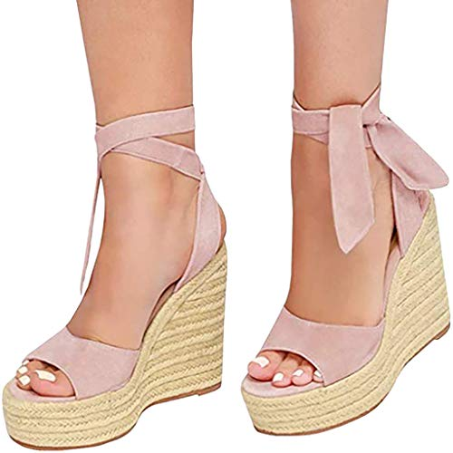 4eda3f3f031 SSYUNO Womens Summer Espadrille Platform Wedge Sandals Strappy Open Toe  Beach Dress Comfy Shoes Pink