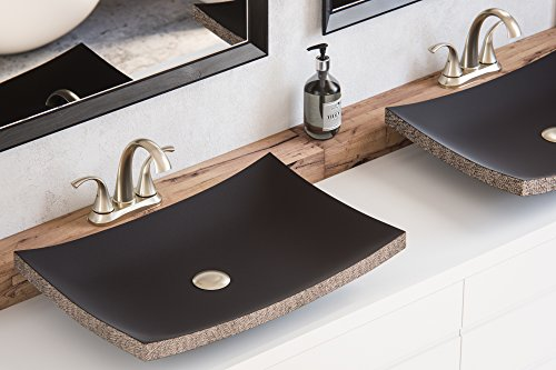 MAYKKE Payson 24 Inch Rectangular Bathroom Stone Sink, Black Natural Stone Granite Sinks for Bathroom Vanity, Modern Vessel Sink in Natural Black Lava Granite, (Beige Wall Mount Sink)