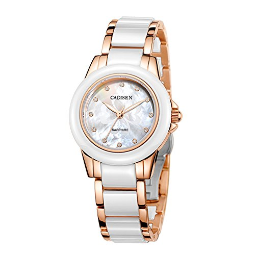 Baogela Womens Rose Gold Shell Dial Fashion White Ceramic Quartz Wrist Watch (Rose gold) (Gold Pearl Watch)