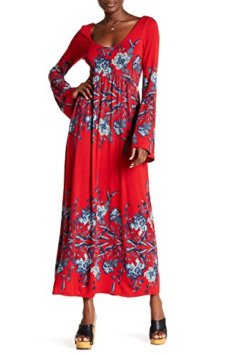Free People Maxi Dress Midnight Garden Red Floral Design (XS)