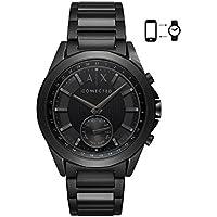 Armani Exchange Men's Hybrid Smartwatch, Black-Tone Stainless Steel, 44 mm, AXT1007