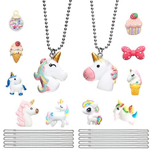 - 12 Pack Unicorn Favors Pendant Necklace Collection, with Bowknot Ice Cream Cupcake Wish Ball Charms Set, Box Packing Gift for Girls