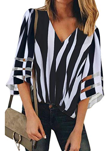 BLENCOT Women Ladies Sexy V Neck Striped Lace Panel 3/4 Bell Sleeve Tops Loose Fit Shirt Blouse Black M