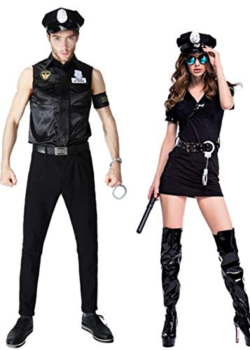 ZQY Women and Men Black Police Officer Uniform Costume, Couple Costume with Handcuffs Belt Hat for Halloween Cosplay (Couple) -