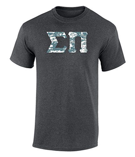 Sigma Pi Digital Camo Flag Logo Unisex T Shirt by Fashion Greek Dark Heather Large - Gifts Dark T-shirt