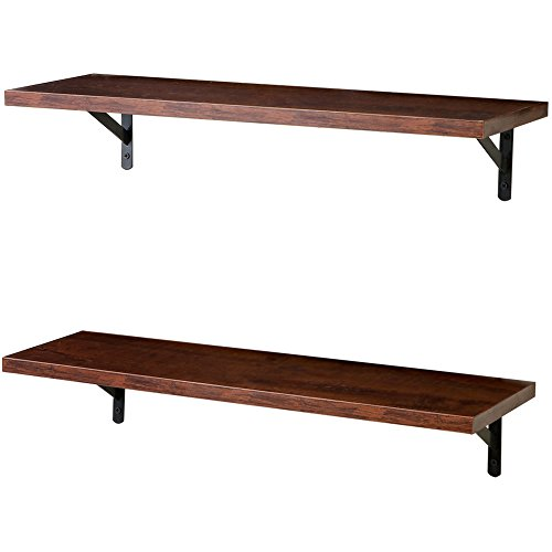SUPERJARE Wall Mounted Floating Shelves, Set of 2, Display Ledge, Storage Rack for Room/Kitchen/Office - Walnut