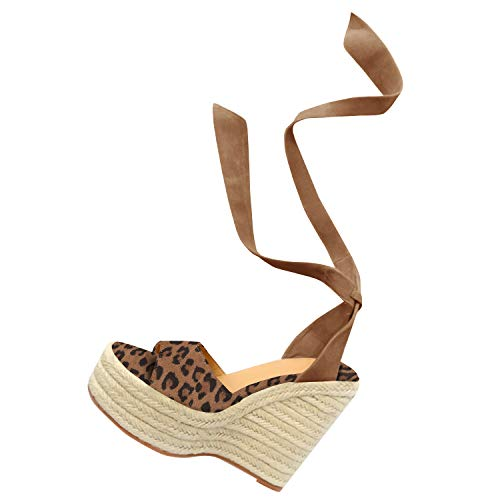 Runcati Womens Espadrille Wedge Peep Toe Sandals Tie Up Summer Ankle Platform Shoes Slingback Dress Sandal ()