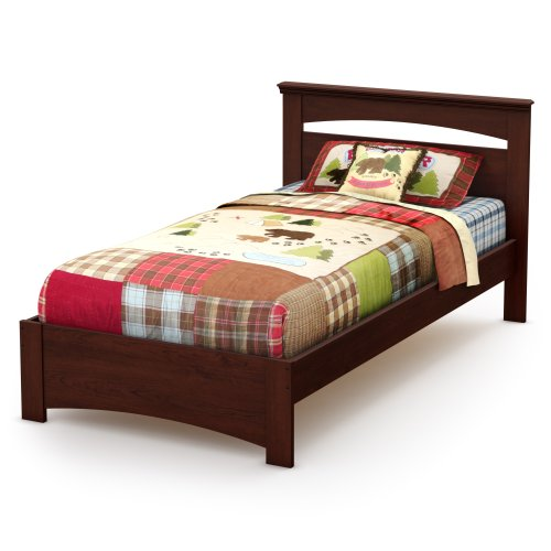 South Shore Libra Bed & Headboard Set, Twin 39-Inch, Royal Cherry