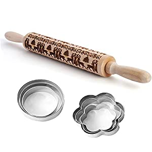 Wooden Rolling Pins Embossing Rolling Pin with Design Deer Pattern for Baking Cookies with 6 Cookie Cutters (14 x 1.8 inch)