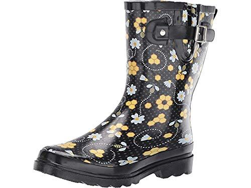 Western Chief Womens' Waterproof Printed Mid Height Rain Boot, Bloom Bees, 10 M US