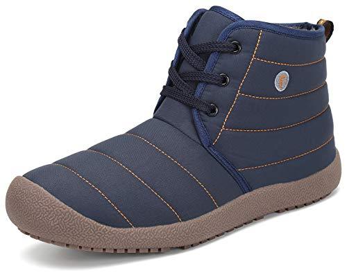 Bleu Katliu Homme Chaudes Doublure Bottines Chaussures Hiver Antiderapante Femme Lacets Fourrées Bottes Chaussons D'extérieur xwwCqT1fp