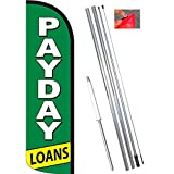 PAYDAY LOANS (Green/White) Windless Feather Flag Bundle (11.5' Tall Flag, 15' Tall Flagpole, Ground Mount Stake)