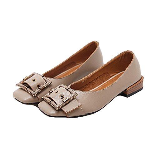 Grijs Dames Klassiek Oxford Loafers Pumps Instapper Vierkante Neus Hiel Hiel Jurk Penny Loafer Pump Beige