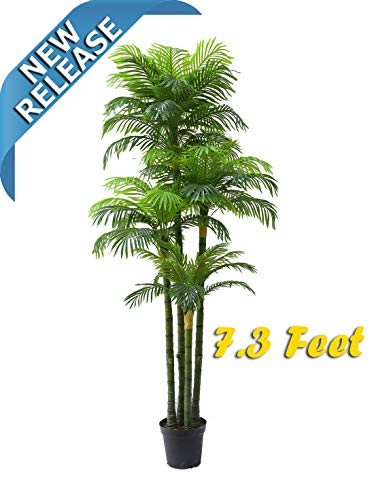 Exotic Tropical Plant - AMERIQUE Massive and Dense Exotic 7.3' Tropical Phoenix Palm Tree Artificial Silk Plant with UV Protection, with Nursery Plastic Pot, Feel Real Technology, Super Quality, Feet, Green