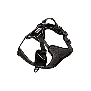 My Busy Dog Dog Harness by No Pull, Easy On/Off, Front and Back Leash Attachments, Handle, Metal Strap Adjuster to Keep Fit | Perfect for Small and Large Dogs | Size Chart in Pictures (Large, Black)