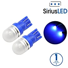 SiriusLED Super Bright 1 W LED Bulbs with 360 Degree Projection for Car Interior Lights Gauge Instrument Panel Dome Map Side Marker Door Courtesy License Plate T10 168 192 194 2825 W5W Blue