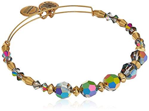 Alex and Ani Swarovski Crystal Beaded, Mirror II Bangle Bracelet- Shiny Gold