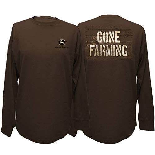 John Deere Gone Farming Long Sleeve T-Shirt-Large Brown