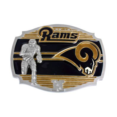 St Louis Rams NFL Belt Buckle Football Team Logo White Gold Finish Vintage Mens ()