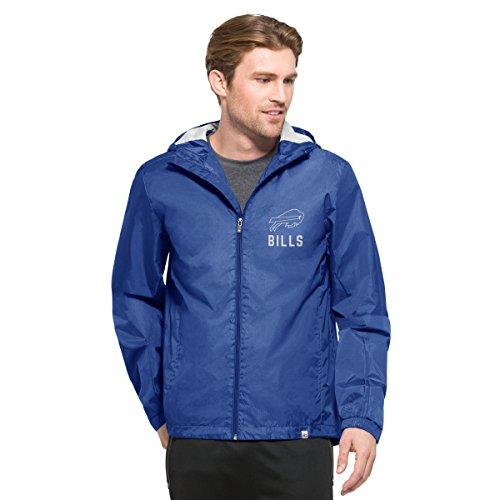 NFL Buffalo Bills Men's '47 React Full Zip Hooded Jacket, X-Large, Booster Blue