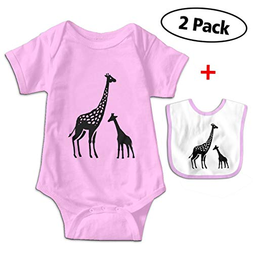 (SFDHFGH Boys Girls Cotton Giraffe Short-Sleeve Baby Crawling Jumpsuit Rompersoutfit with Bib Pink)