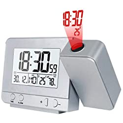 Projection Alarm Clock Digital Date Snooze Function Backlit Projector Desktop Desktop Clock with Time Projection