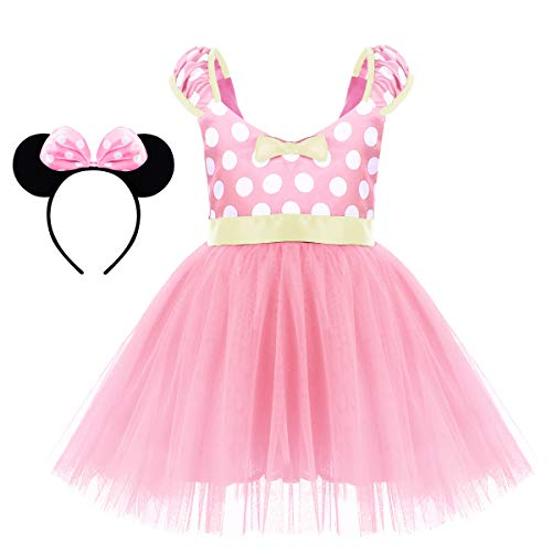 Minnie Costume for Toddler Little Girl Tutu Skirt Mouse Ear Headband Polka Dot First Birthday Halloween Costume Princess Outfits X# Pink Short Dress+Headband 5-6 Years -