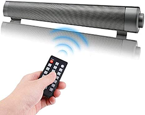 QSPORTPEAK 10W Cine en casa Televisor Barra de Sonido Inalambrica TV Altavoces Portátil Soundbar Altavoz Inalambrico Bluetooth con Micrófono 3.5mm AUX RCA Tarjetas TF, Sonido(Negro)
