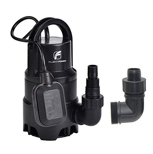 FLUENT POWER Submersible Pump - 110V/60Hz 1/3HP 2100 GPH Clean/Dirty Submersible Water Pump includes float switch for automatic operation with adaptable hose connections
